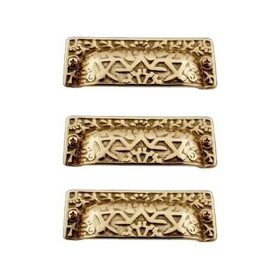 Antique Bin Pull Bright Solid Brass Cup Pack of 3 | Renovator's Supply
