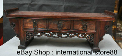 "22"" Rare Old Chinese Huanghuali Wood Carving 3 Drawer Censer Table Furniture"