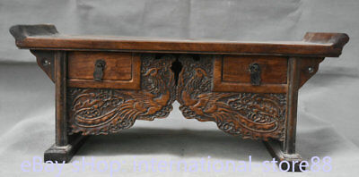 """18.8"""" Collect Old China Huanghuali Wood Palace Phoenix 2 Drawer Censer Table"""