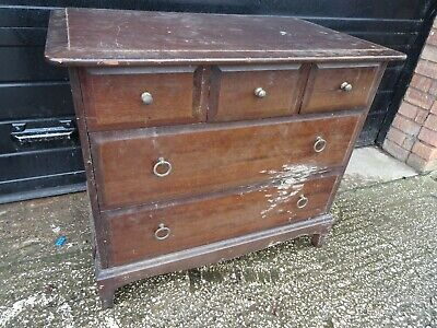 Antique Mahogany 3 Over 2 Chest Of Drawers