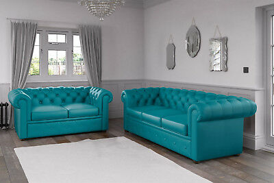 Chesterfield Malaga Pu Leather Turquoise