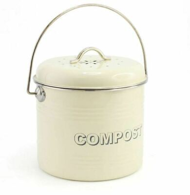 New Vintage Style Retro Enamel Cream Large Kitchen Compost Tin Bin Container