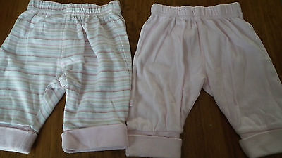 Two pairs of Mothercare Girls Trousers 0-3 months