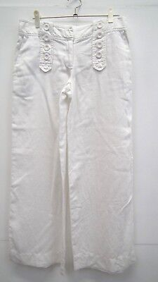 Off White Linen Wide Leg trousers from Top Shop size 8