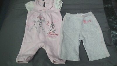 Girls Pink Bambi All In one  from George and Next Grey Tracksuit Bottoms 0-3 m