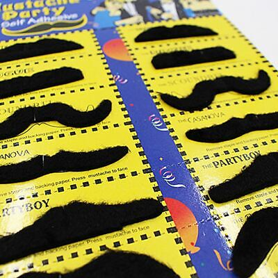 12 Self Adhesive Fake Moustache Mustache Hen Party Stag Kids Fancy Dress Costume
