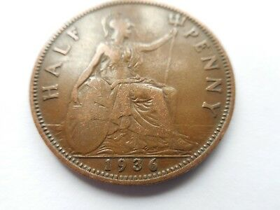 1936 George V Half Penny Coin