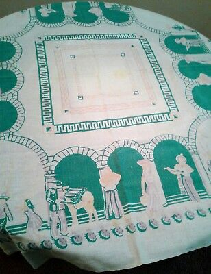 Vintage Mexican Themed Linen Kitchen Tablecloth 47 x 43 Teal White