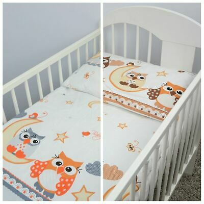 4 Piece Quilt Duvet Pillow & Covers Set Baby Crib Cradle Cot Bedding - Owls