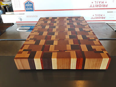 End Grain Cutting board, Made of Hardwoods, Butcher Block Look, Food Safe Finish