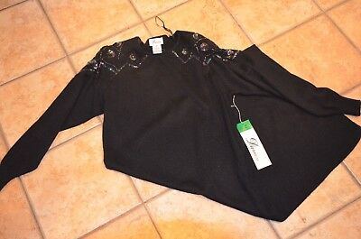 6536089216 Darian Black Acrylic Sweater Dress Long Sleeve Iradescent Beads Sequins M  New