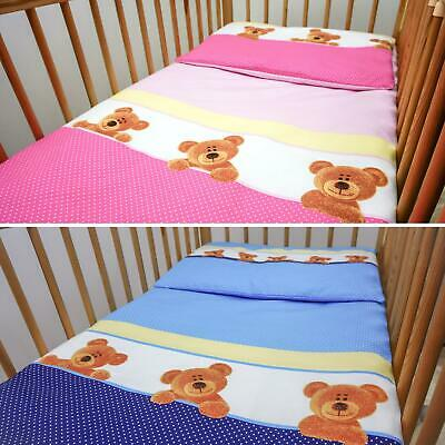 4 Piece Quilt Duvet Pillow & Covers Set Baby Crib Cradle Cot Bedding- Teddy Bear