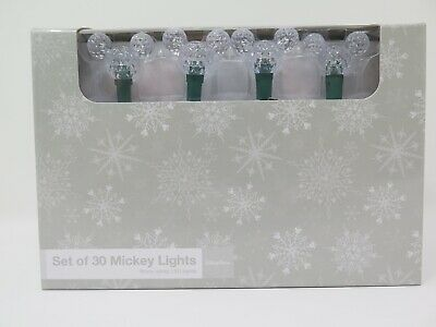 Disney Parks Set Of 30 Mickey Icon Christmas Holiday Lights Warm White LED Tree