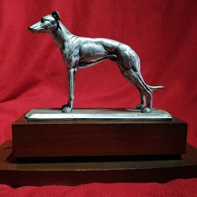 Vintage Solid Metal Greyhound Lurcher Whippet Sculpture Heavy Good Quality retro
