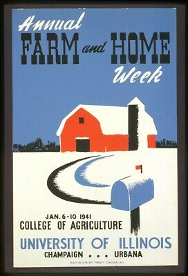bedroom wall decor Annual farm and home week WPA artwork poster