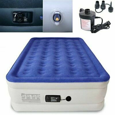 Queen Size Air Bed Airbed Raised Memory Foam Mattress With Built-In Pump