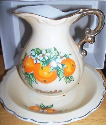 Florida Vintage Souvenir Pitcher/Bowl Made in Japan Oranges Orange Blossoms