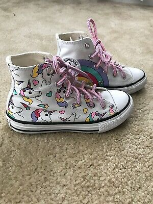 1535e4884edd CONVERSE WHITE   Multicolor Unicorn Hi Top Sneakers - Girls Sz 13 ...