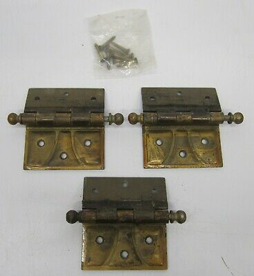Set 3 Surface Mount Steel Door Hinges Hardware Art Deco Arts Crafts Brass Finish