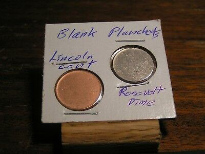 Rosevelt & Cent  BLANK PLANCHETs with rim  Gem BU.  FROM  ROLL Both Type 2