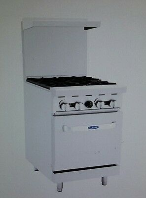 """Atosa 24"""" Gas Range with (4)burners and Standard Oven"""