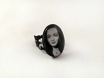The Addams Family Photo Ring, Carolyn Jones As Morticia, Adjustable, Gothic Goth
