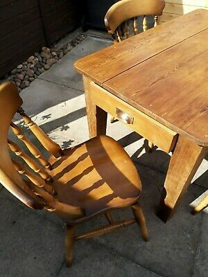Antique Victorian Solid Pine Kitchen Table With Drawer & 4 Chairs