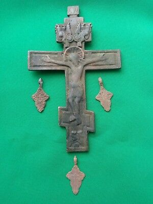 Russian Empire ancient orthodox bronze icon cross 1700-1800 original  big cross
