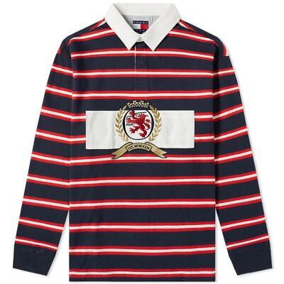 6632b7b0 NWT Tommy Hilfiger Jeans Rugby Polo Shirt Big Crest Logo Striped 90s  Capsule Men