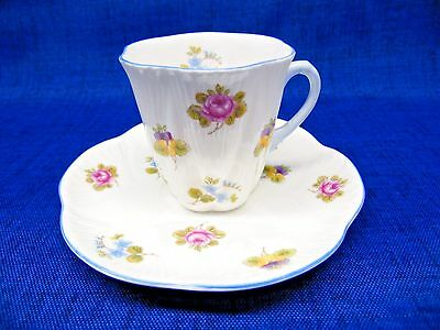 Vintage Shelley Fine Bone China Roses Pansy Tea Cup & Saucer Dainty Small Blue