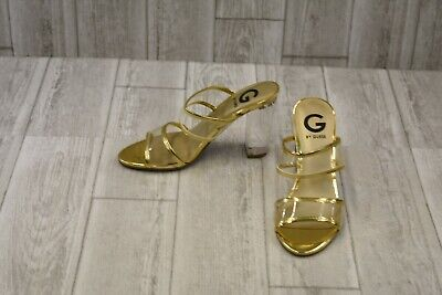c09f3ccbf80 G BY GUESS Womens Brayla Lucite Clear/Oro Open Toe Heels Size 9.5 ...