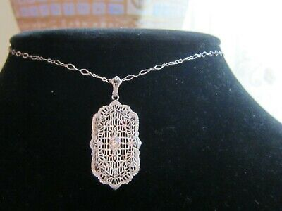 VINTAGE ESEMCO STERLING SILVER FILIGREE NECKLACE PENDANT Diamond Accent Antique
