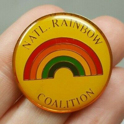 """Vintage National Rainbow Coalition Pin - Colorful 1"""" Round"""