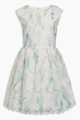 BNWT NEXT Girls White Blue & Green Floral Lace Summer Dress 2-3 7-8 Year RRP £27