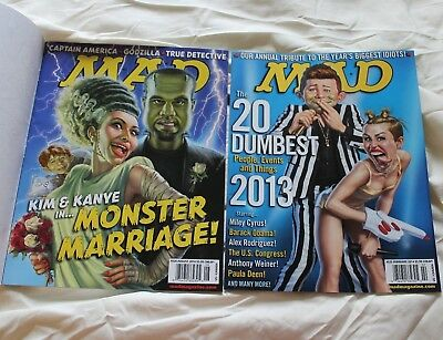 MAD MAGAZINE - 2 Back Issues ~ Feb 2014 Dumbest People of 2013 / 2014 Kim Kanye