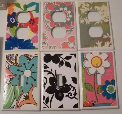 Switchplate Covers - FLORAL FLOWERS Custom Made Hand Crafted Light Switch Cover