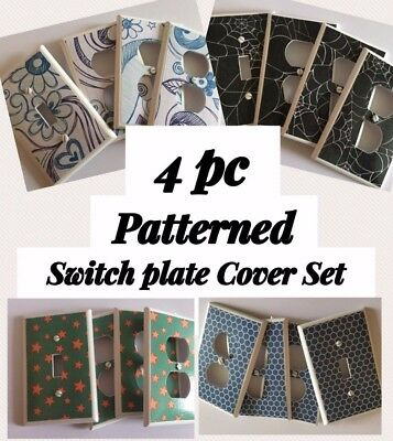 Switchplate Cover Sets 4 pc ~ PATTERNS ~ Light Switch Electrical Outlets Various