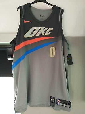 Nike OKC Russell Westbrook City Edition Authentic Jersey Gray XXL / 56