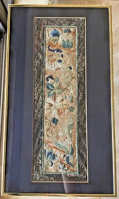 Antique Chinese Qing Dynasty 19th c Embroidered Panel Peaches & Bats Floral
