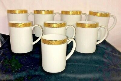 "8 Centurion Collection * PURE GOLD* 4"" COFFEE MUGS* 9414*"
