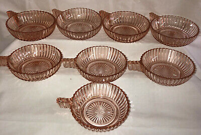 """7 Anchor Hocking QUEEN MARY PINK *4"""" HANDLED BOWLS*"""