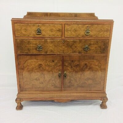 Rare Stunning Burr Walnut * Inlaid  CHEST Of DRAWERS On Cupboard Art Deco 1920's