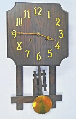 Antique Arts & Crafts OAK WALL CLOCK National Clock & Mfg Co Chicago. Works.