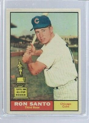 1961 Topps #35 Ron Santo, Chicago Cubs, HOF, Rookie, NM