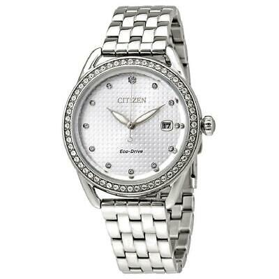 Citizen Eco-Drive Women's Crystal Markers Silver-Tone 37mm Watch FE6110-55A