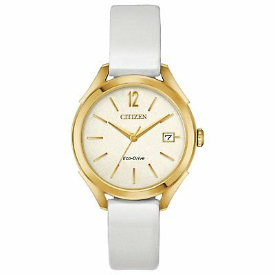 Citizen Eco-Drive Women's Gold-Tone Case Ivory Tone Dial 34mm Watch FE6142-08A