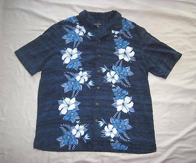 45f3eb83 NAUTICA SAILING BRAND Mens Linen Blue & White Floral Leaf Flower ...
