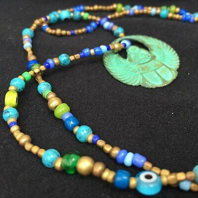 Amulet of Horus Ra - Beaded Necklace - Egypt Inspiration