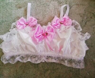 Cd Adult Baby Sissy Ivory Satin Pink Bows Pull On Bra