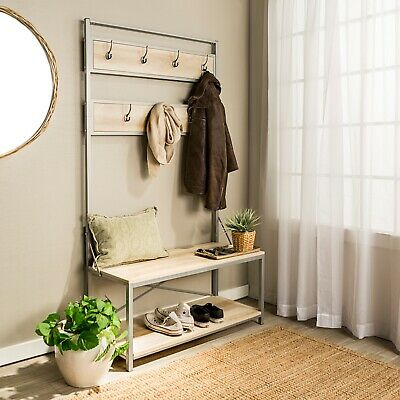 Style Hall Tree Entryway Coat Rack Bench Hooks Clothes Hanger Seat Us
